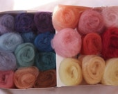 Plant Dyed Sample Box of Wool Rainbow of Colors for Felting & Spinning