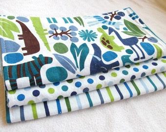 Baby Boy Burp Cloth Gift Set - 2D Zoo in Pool II - Set of 3 Designer Burp Pads