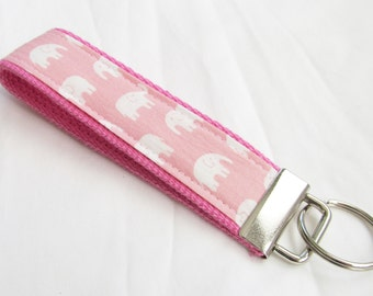 Wristlet Key Fob Key Chain in Pink Kawaii Elephants - Keychain on Pink Webbing