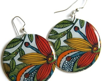 Bright Flower Arrangement in Red, Yellow & Green Large Resin Earrings with Sterling Earwires