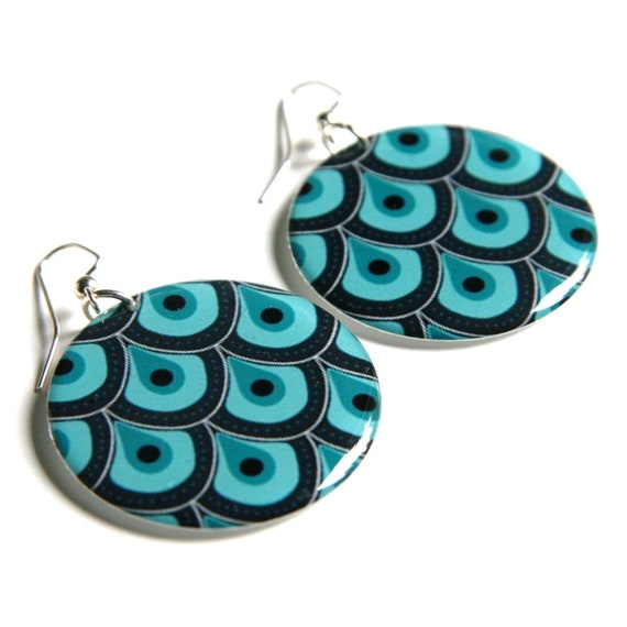 Peacock Inspired Teal & Dark Blue Large Resin Earrings
