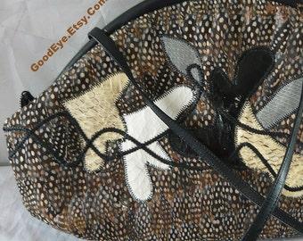 Vintage FEATHER Purse 1980s / Crossbody Large Sholuder Bag/  Black Brown Snakeskin Reptile Applique