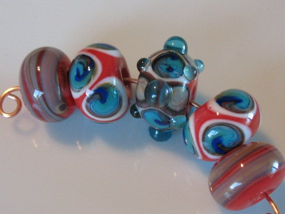 Handmade glass beads-lampwork beads-loose beads-set in Cherry red -turquoise-ivory and tan -SRA