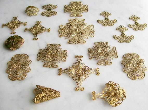 Brass Filigrees Gold Finish Findings Jewelry Supplies Scrapbook 17 Pcs