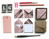 Pink Newspaper Mini Stationery Set
