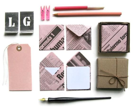 Pink Newspaper Mini Stationery Set