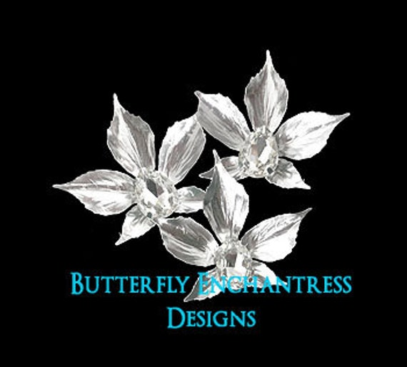 Bridal Hair Flowers, Wedding Hair Accessories, Beach Wedding - 3 Silver Sedona Orchid Flower Hair Combs - Rhinestone Centers