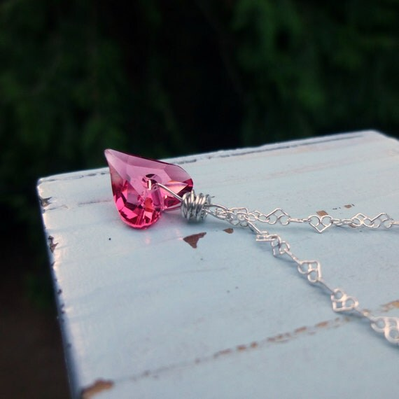 Wild  Heart  Indian Pink Necklace,  Swarovski Crystal, Sterling Silver Heart  Chain, Perfect for Valentines Day