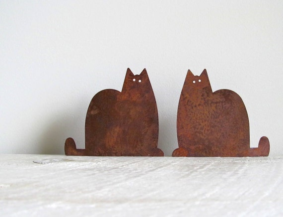 Rusty Tin Cat Cutouts - Set of 14 - RESERVED