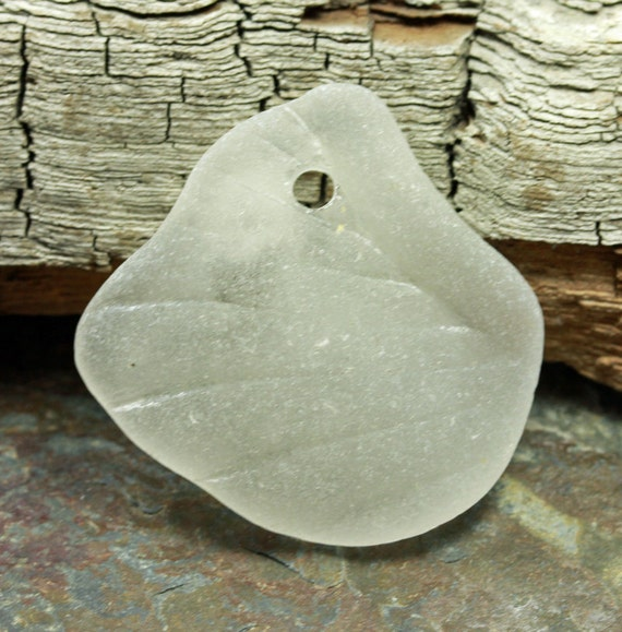 Drilled Sea Glass, Textured White for Jewelry