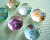 Set of 6 Washi Chiyogami glass pebble magnets super strong / Made to order