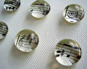 Set of Six Vintage Sheet Music Glass Pebble Magnets / Made to order