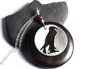 Falcon Necklace - Wood pendant - sterling silver pendant - Egyptian Horus