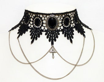 Victorian Black Onyx gothic lace choker necklace - venise lace choker with chains and cross - LUCRETIA in Black Onyx