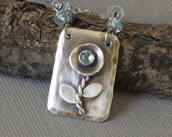 Metalwork Necklace, Blue Topaz Necklace, Dog Tag, Poppy Flower Necklace Recycled Sterling Silver Flower Pendant Hand Forged