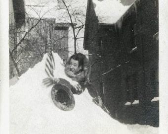 Vintage photo Joker Guy in Snowdrift American Flag Hat funny Man