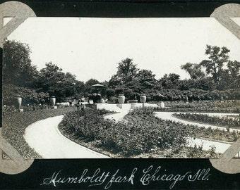 Vintage photo 1914 Humboldt Park Chicago Illinois Gardens 2 photos