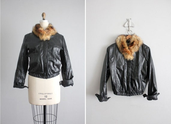 SALE - black leather jacket / fur collar coat