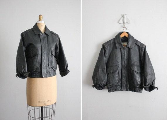 1980s vintage tiny fit leather bomber jacket