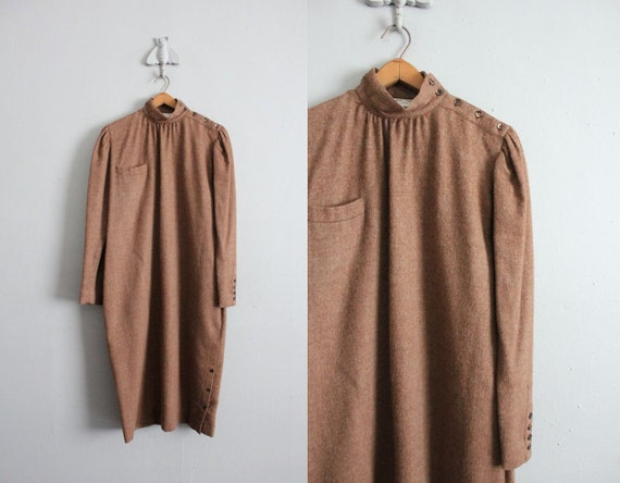 1970s vintage brown wool button dress
