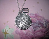 Rustic Bird Necklace Jewelry Charm Pendant Etched Pewter Silver w/ Glass Accent Bead Free Shipping US or Canada
