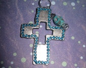 Skull & Cross Necklace Jewelry Pendant Charm Peweter Silver w/ Turquoise Rhinestones Day Of the Dead Mexican FREE SHIPPING To USA or Canada