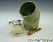 Ceramic Salt Cellar, Handmade Stoneware Open Salt Crock, Celadon Green  s207