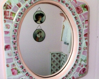 Sweet Shabby Mirror Rose China Mosaic Pink Rose Home Decor Furniture Wall Hanging