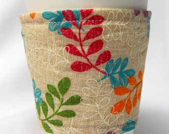 Coffee Cozy/Cup Sleeve Eco Friendly Slip-on, Teacher Appreciation, Co-Worker Gift, Bulk Discount: Magenta/Teal/Purple/Green Fronds on Cream