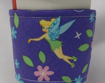 Coffee Cozy/Cup Sleeve, Eco Friendly, Slip-on, Teacher Appreciation, Co-Worker Gift, Bulk Discount: Tinkerbell on Purple
