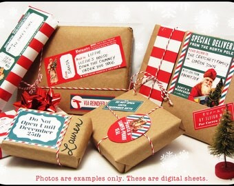 Christmas Mail from Santa digital collage sheet set FOUR SHEETS decorations for your holiday gifts and presents
