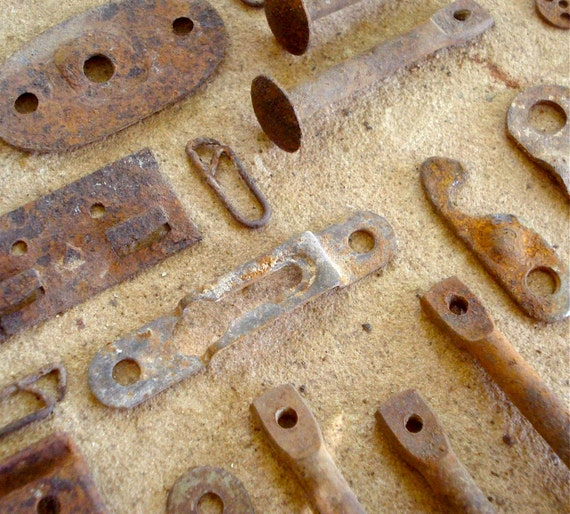 Rust Metal Pieces with Holes Found Objects for Assemblage, Altered Art or Sculpture - Industrial Salvage