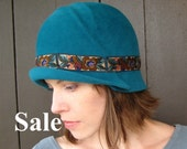 SALE Turquoise Felt Cloche Hat, Floral, 1920s Style Womens Fashion, Handmade Millinery, Louisa