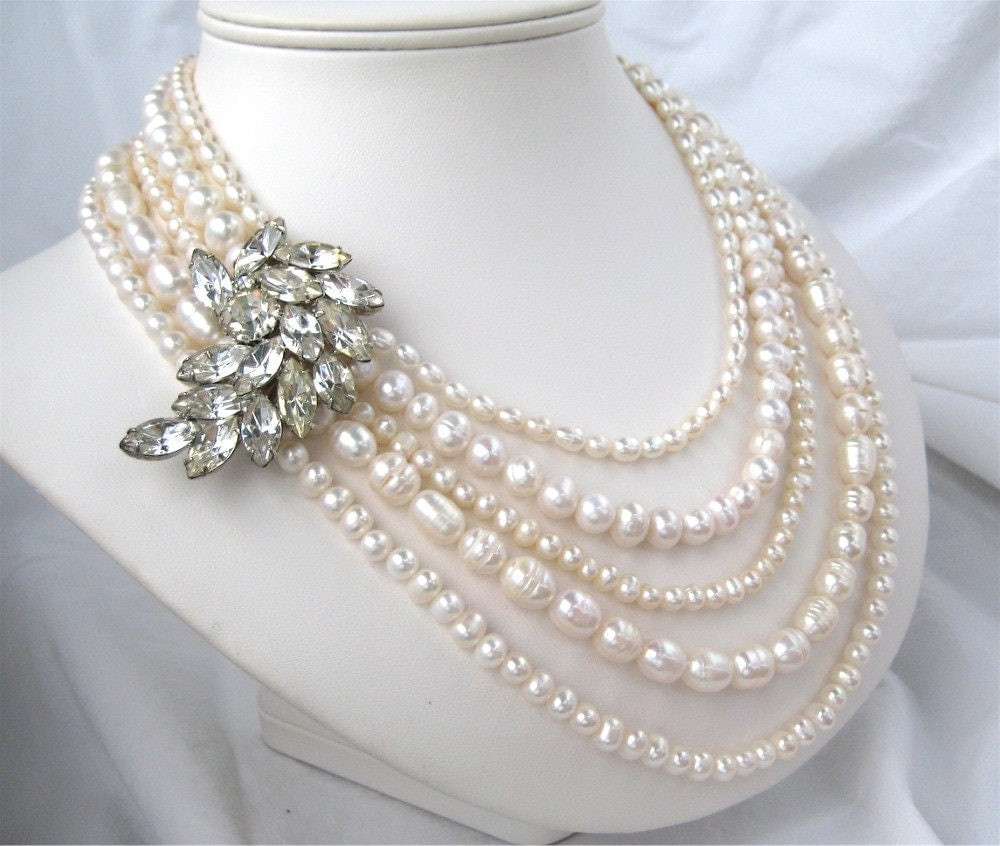 5 Strand Freshwater Pearl Necklace Vintage Rhinestone Wedding