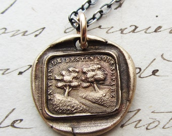 "Wax Seal Necklace ""Destiny Separates Us"" in Bronze - French love motto - no matter the obstacles we are destined to be together"