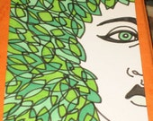 Original Drawing ACEO  Green Leaves and Black and White Womans Face Design