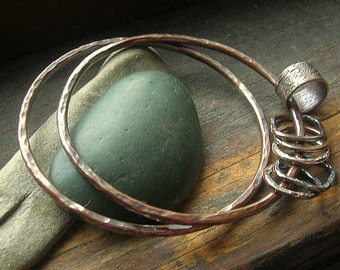 Custom Copper Bangle Duo with Dangles in Sterling Silver, Copper and Brass