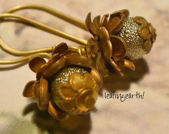 dewey green pearl brass flower bud earrings