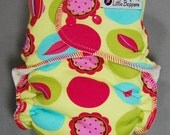 Cloth Diaper One Size Hybrid Fitted - by Little Boppers - Citron Mod Dots