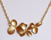 Gold orchid necklace - flowers - floral - spring