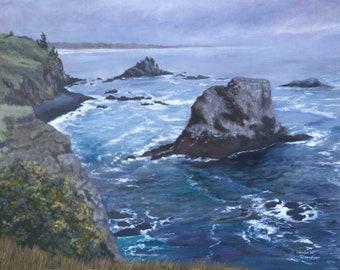 Giclee Print, Yaquina Head Oregon, Pacific Coast, Oil Painting