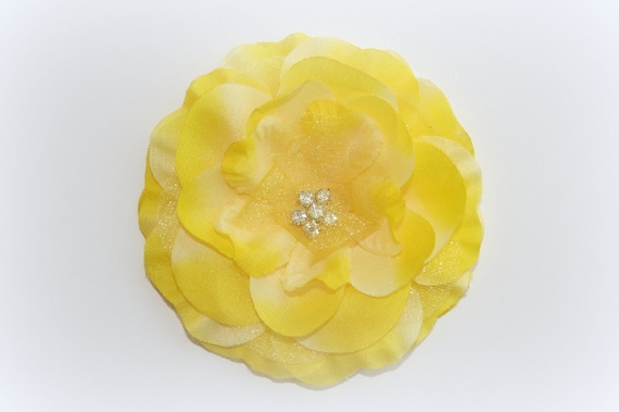 FREE WITH PURCHASE - Rhinestone Centered Fabric and Organza Flower in Two Tone Yellow