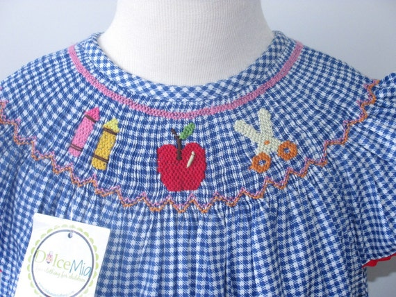 Back to School smocked portrait dress, Bishop smocked dress girl sz 6y
