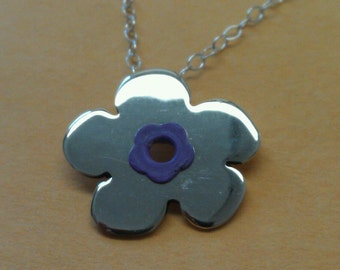 Sterling Silver Flower with a Colorful Center