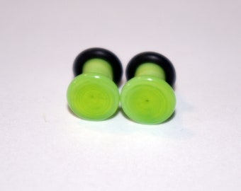 4g  Bright Green glass EAR plugs BODY JEWELRY 5mm handmade new 4 gauge