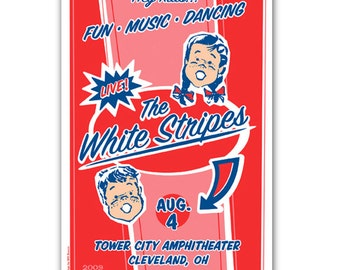 Retro 50s style WHITE STRIPES candy wrapper concert poster, silkscreen Cleveland Ohio gigposter screenprint.