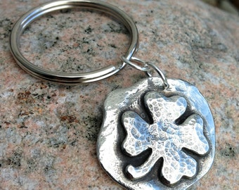 Shamrock Key Ring, Clover Keychain, Lucky 4 Leaf Clover, Hammered, Rustic Good Luck Charm, St. Patrick's Day