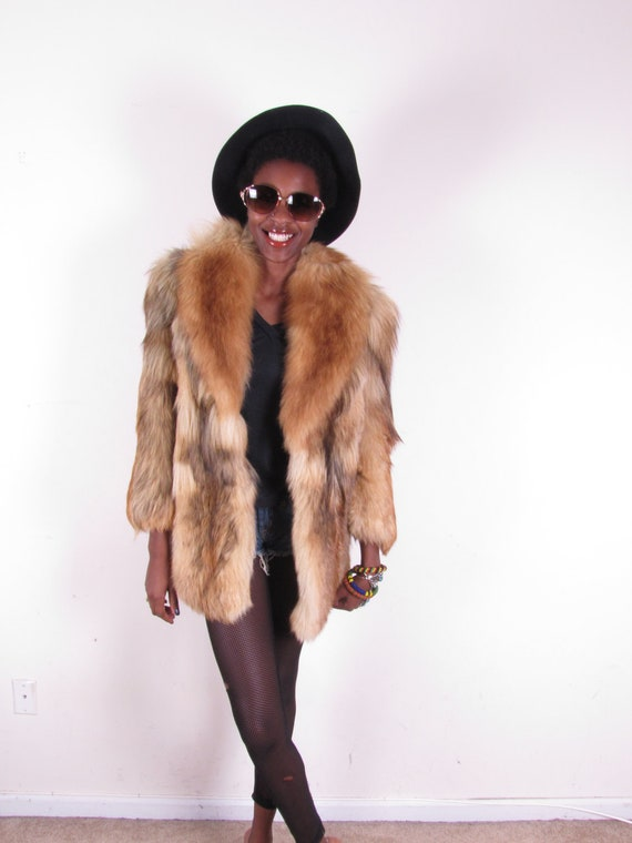 Totally aMaZIng 70s fluffy thick shaggy WOLF vintage red fox fur coat jacket sz xs-med