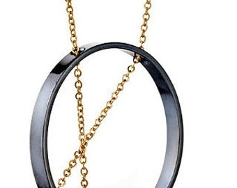 Inner Circle Necklace 101 in Oxidized Silver and Gold