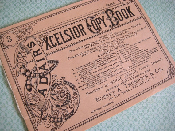 Vintage Copy Book - Adairs Excelsior Copy book 1970s Font Type handwriting Belfast Ireland